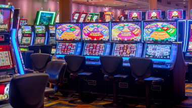 Row of Slot Machines at Ameristar East Chicago